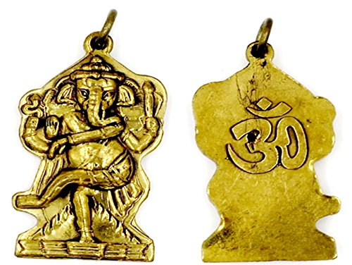 Hindu Lord ganesh ganesha god for wealth and success om ohm aum trimurti with necklace in an amulet box (Silver Fox Marvel Costumes)