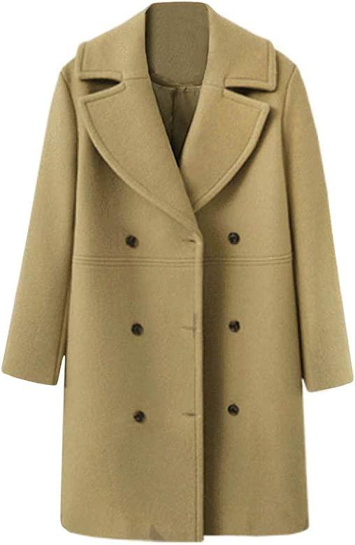 LUCKYCAT Abrigo de Chaqueta de Lana de botón de Manga Larga de Invierno de Moda de Mujer Suelta