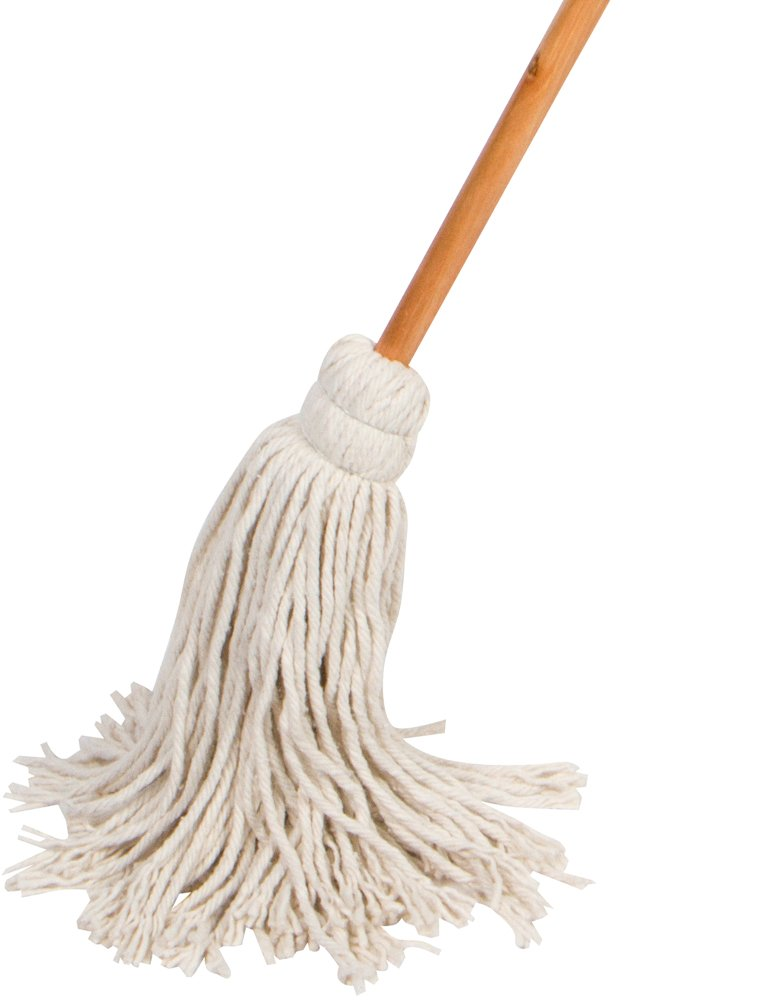 American Market 59'' Wet Deck Cotton Mop with Solid Wood Handle, 11 Oz Cotton Mop Head by American Market