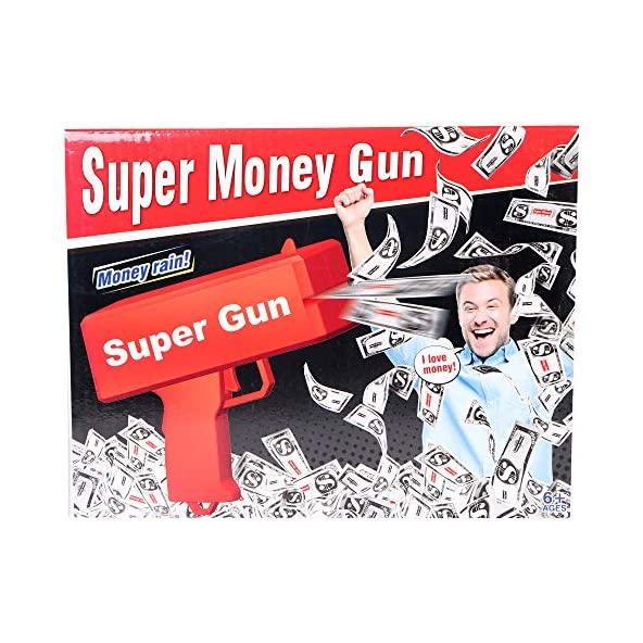 wowobjects 1Pc Cash Gun Red/Cash Cannon Rain Money Gun Stress Reducer Anti-Anxiety Toy Christmas Gift Toys for Children & Adults Fun Toy (Red)