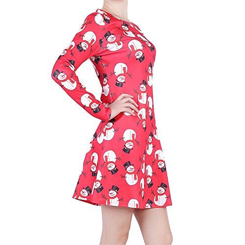 Robes Longues Pour Les Femmes, Les Femmes Jupe Longue Pull-over Imprimé Femme Robe À Manches Col Rond Bonhomme De Neige Rouge, L