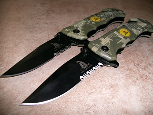 2x-2-Rogue-River-Tactical-Knives-US-Marine-Corps-Dont-Tread-On-Me-Spring-Assisted-Rescue-Pocket-Knife-Digital-Camo-Drop-Point-Blade-Gadsden-Flag-Patriot-Military-Great-Gift