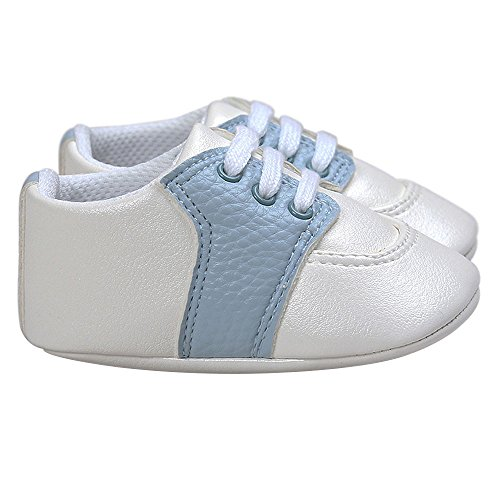 Pictures of Kuner Newborn Baby Boys Girls Pu Leather White+sky Blue 5
