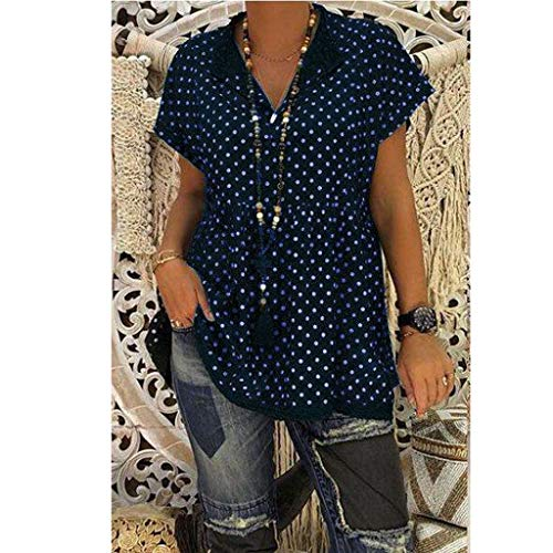 2019 New Womens Spot Printing Blouse, Casual V-Neck Short Sleeve Dot-Intarsia Printing Shirts Soild Summers Top Vest Blouse (Navy, M) by Aurorax Dress (Image #3)