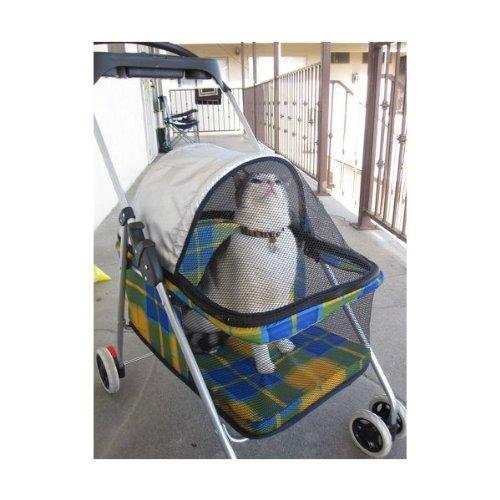 BestPet New Yellow Plaid Posh Pet Stroller Dogs Cats w/Cup Holder For Sale