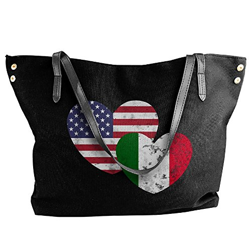 Flag Italian Tote Women's American Bags Shoulder Handbag Large Black Capacity Canvas Large Love nEBBwqxX0r