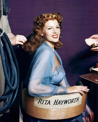 Rita Hayworth Seated in Chair With Name On 8x10 HD Aluminum Wall Art