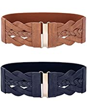GRACE KARIN Women's 2 Pack Retro Wide Elastic Stretch Belt