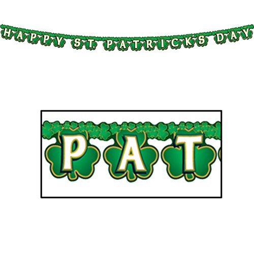 Shamrock Happy St Patrick's Day Streamer Party Accessory (1 count) (1/Pkg) (Patricks Day Streamer)