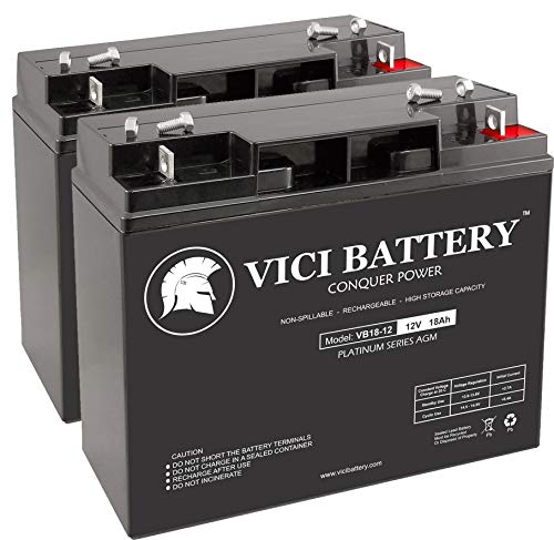 VICI Battery VB18-12 - 12V 18AH Replacement for Friendly Robotics Robomower RL1000 Lawn Mower Batteries - 2 Pack