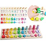 Wood Math Teaching Puzzle Educational Counting Toy Shape Sorter Stacking Blocks Toddlers Preschoolers Kids Numbers Learning Toys Wooden Puzzles Shape Color Recognition Geometric Board Blocks Stack Sort Montessori Toys for 3 4 5 Year Old Boys Girls