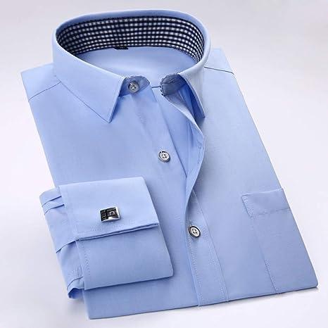 MKDLJY Camisas Gemelos franceses para Hombre Camisas de Vestir sólidas con Bolsillo de Negocios Camisa de Manga Larga/Rayas de Corte Regular (Gemelos incluidos): Amazon.es: Deportes y aire libre