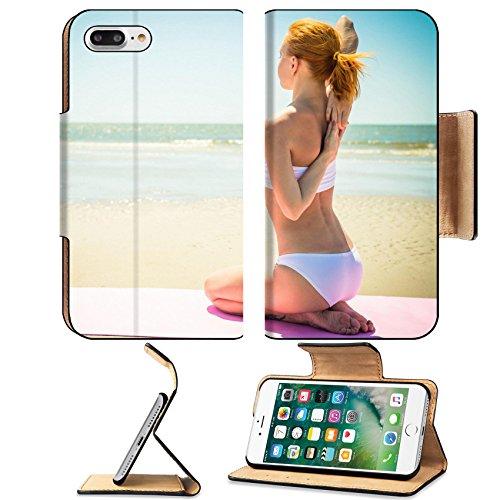 Luxlady Premium Apple iPhone 7 Plus Flip Pu Leather Wallet Case iPhone7 Plus 31084908 Woman doing yoga asana at the beach (Glue Bikini Blue)