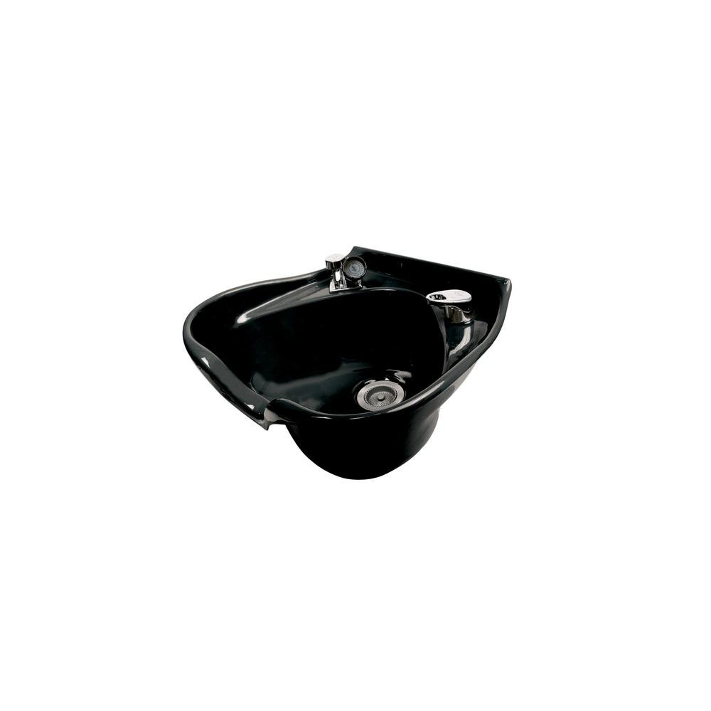 Belvedere Cameo 22 in. W x 10 in. D Enamel Shampoo Sink with 522 Fixture, Spray, Strainer and Bracket in Black