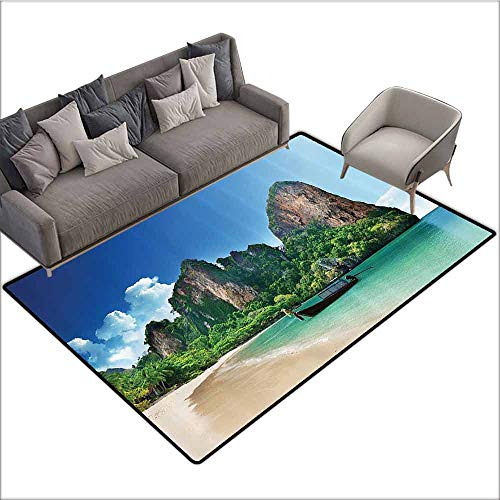 Front Mat Home Decorative Carpet Colorful Tropical Decor,Railay Beach in Krabi Thailand Small Boat Crystal Water Rock Cliff Tropical Landscape,Bule Green 80