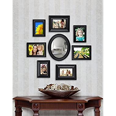8 Piece Contemporary Black Picture Frame Set with Mirror