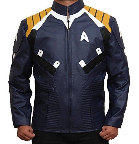 Chris Pine Jacket - Blue Genuine Leather Jacket (L, Star Trek Blue) -