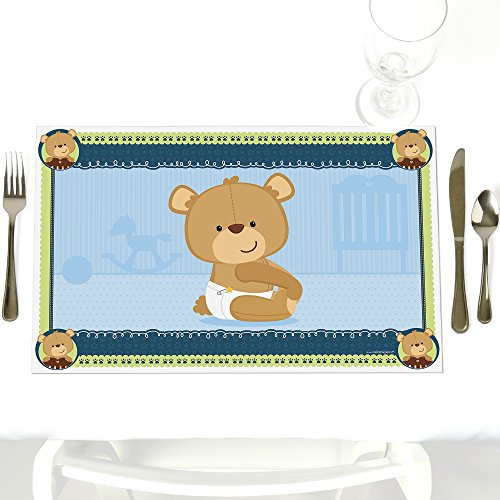 Boy Baby Teddy Bear - Party Table Decorations - Baby Shower or Birthday Party Placemats - Set of 12 -