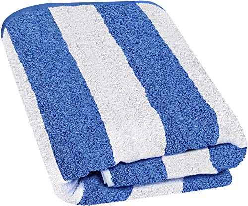 Utopia Towels Cabana Stripe Long Beach Towel - Large Pool Towel - (35 x 70 Inches), Blue Blue Striped Beach Towel