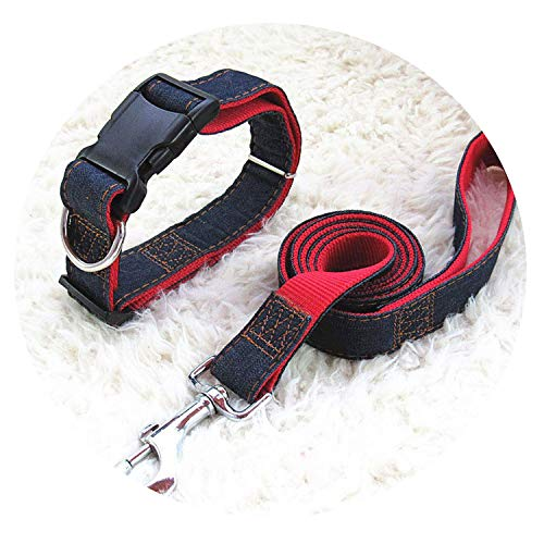 lucky air Pet Products Dog Leash 123cm Long Fashion Denim & Nylon Rope Black/Red/Blue ()