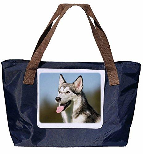 Shopper / Tracolla / Tote Bag / Tote Bag / Borsa A Tracolla In Nylon Blu Navy - Taglia 43x33cm - Motivo: Alaskan Malamute / Ritratto Husky - 02