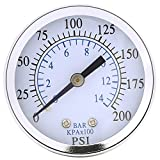 "1PC 1/4"" NPT Mini Pressure Gauge for Fuel Air Oil Or Water 0-200psi / 0-14bar 0-200psi 0-14bar Hydraulic Water Pressure Gauge"