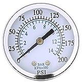 "1PC 1/4"" NPT Mini Pressure Gauge for Fuel Air Oil Or Water 0-200psi / 0-14bar 0-200psi 0-14bar Hydraulic Water Pressure Gauge"