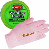 Hand Cream for Dry Cracked Hands Repair Gloves Bundle - Working Hands Cream O'Keeffe's, Odorless, Non Greasy, 3.2 oz, Dry Hand Treatment Gel Gloves, Pink, Unscented, 1 pair