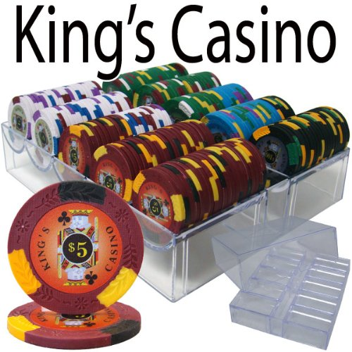 (200 Ct King's Casino 14 Gram Poker Chip Set in Acrylic Chip Tray With Lid)
