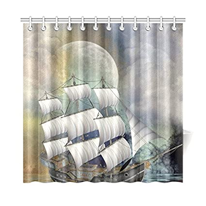 Image Unavailable Not Available For Color Silly Meow Custom Shower Curtains Pirate Ship
