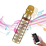 ZEANEW(TM) Two-in-One Portable Wireless Karaoke Microphone Bluetooth Speaker Rechargeable 2000mAh Handheld Cellphone Karaoke Music Player Karaoke Mic With Singing Recording KTV Party (Gold)