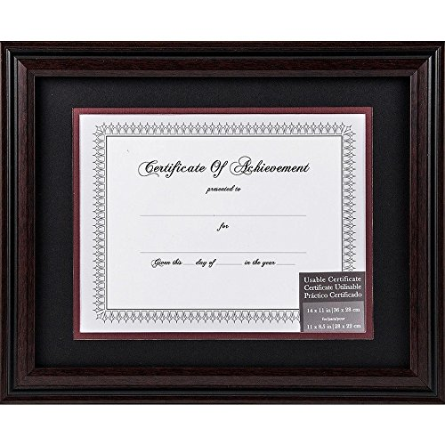 Frame Rosewood Handsome (Rosewood and Black Certificate 11x8.50/14x11 Matted frame by Gallery Solutions - 8.5x11)