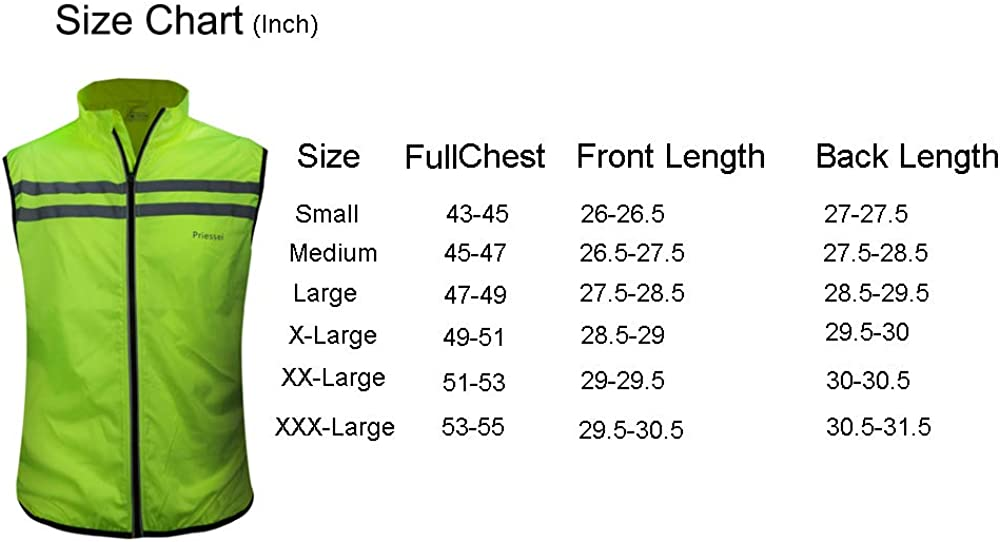 Priessei Mens Running Cycling Vest Reflective and Windproof Safety Bike Vest