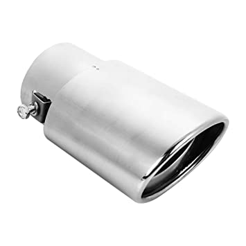Cola de coche Trasero recto Escape Silenciador Punta de tubo Acero inoxidable Cromo 63-76
