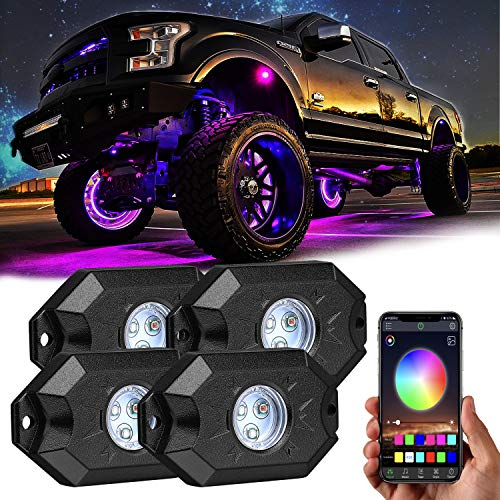 RGB LED Rock Lights Kit, Yvoone-Auto Underglow Multicolor Neon LED Light with Bluetooth Controller, Timing Function, Music Mode,Neon Lights Under Off Road Truck SUV ATV – 4 Pods