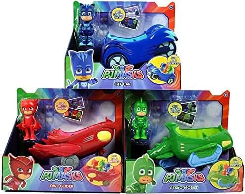 PJ Masks 3 Mobile Vehicles Bundle CAT CAR, OWL GLIDER and GEKKO MOBILE