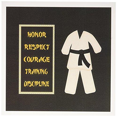 3dRose Karate Karategi Uniform Black Belt Honor Respect Courage Train Discipline - Greeting Cards, 6 x 6 inches, set of 12 (gc_180798_2)