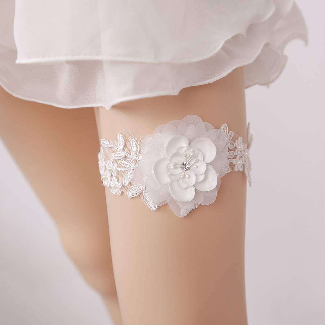 d3fa65537ea Coxeer Garter Flower Pearl Beads Decor Lace Bridal Garter Garter Belt   Amazon.in  Home   Kitchen