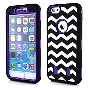 "KEEDA Hybrid Dual Layer Armor Defender Protective Case Cover Combo for iPhone 6 4.7"" with Screen Protector (Wave-Purple)"