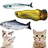 Ruri's 3 Pack Catnip Toys for Cat Simulation Plush Fish Shape Doll Artificial Fish Toy Interactive Pets Pillow