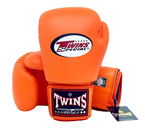 TWINS SPECIAL BOXING GLOVES ORANGE COLOR PREMIUM LEATHER W/ VELCRO (14 oz.) by Twins Special