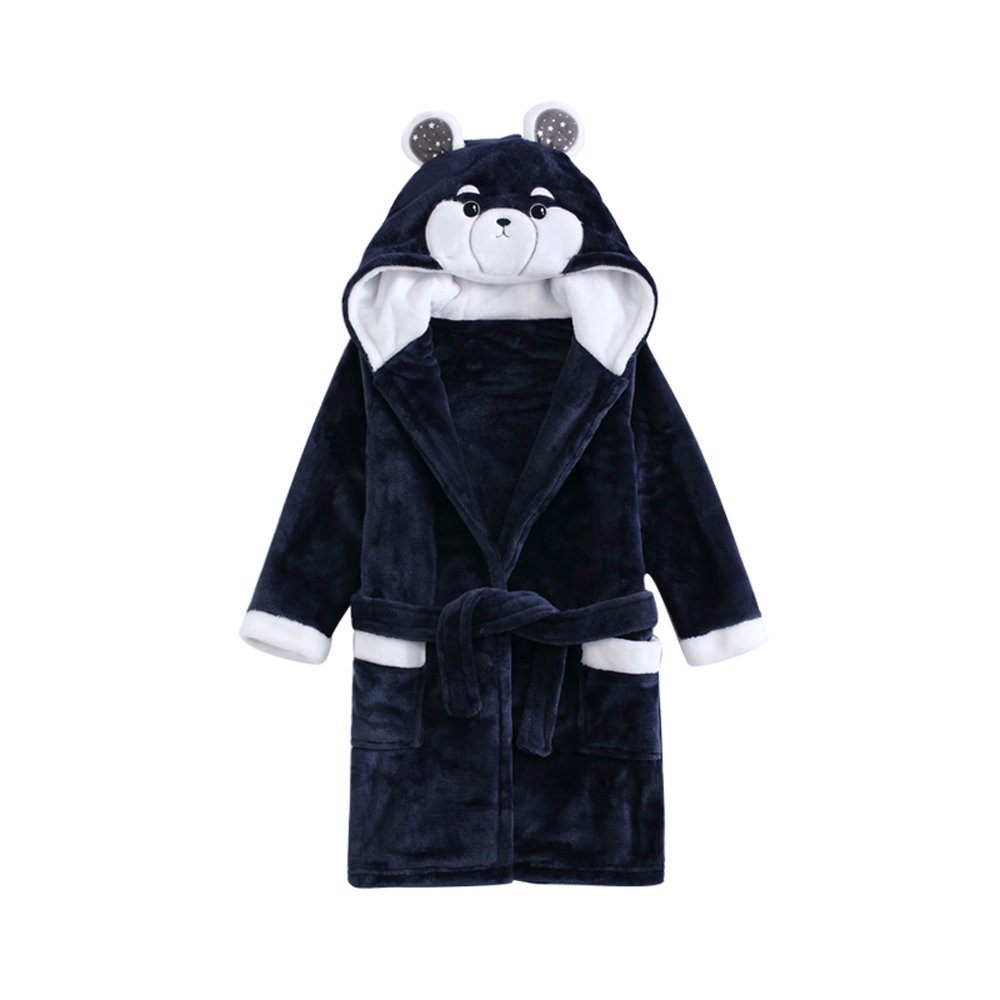 Girls Boys Fleece Hooded Bathrobe Kids Animal Robe Pajamas Sleepwear Toddler Plush Kimono