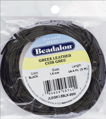 Greek Leather Round 16 4 Black 1 5mm