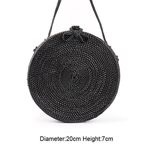 - Bali Circle Straw Bags For Women Handmade Round Beach Bag Summer Rattan Handbags Butterfly Women Messenger Bag Medium Black