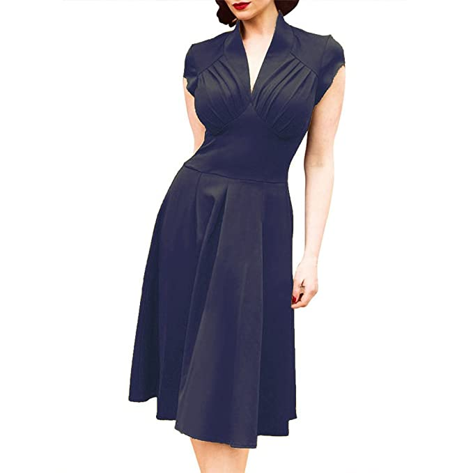 Women Vintage Retro Ball Gown 1940s Flared Dress Swing Skaters ...