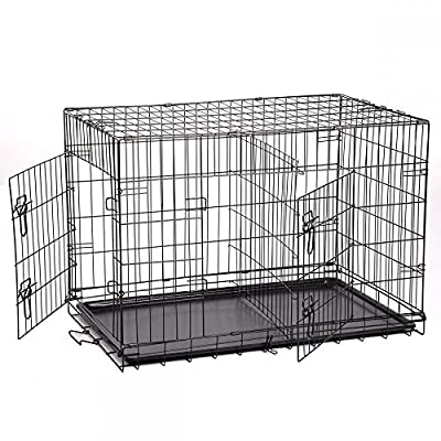 "Folding Pet Dog Cat Crate Cage Kennel With Plastic Tray W/Divider (48"")"