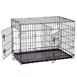 Folding Pet Dog Cat Crate Cage Kennel With Plastic Tray W/Divider (36″) For Sale