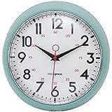 Kiera Grace Retro Wall Clock with Chrome Bezel and Convex Glass Lens, 9.5-Inch, 2.5-Inch Deep, Green