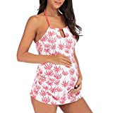 Hot Halter Maternity Floral Print Bikinis Women Sexy Swimsuit Plus Size Beachwear Pregnant Dresses Suit (M-3XL) (Pink, M)