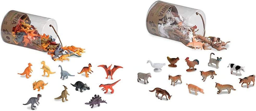 Terra by Battat – Dinosaurs – Assorted Miniature Dinosaur Toy Figures & Cake Toppers for Kids 3+ (60 Pc) & Farm Animals – Assorted Miniature Farm Animal Toy Figures & Cake Toppers for Kids 3+ (60 Pc)